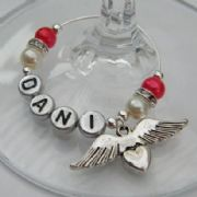 Angel Wings With Heart Personalised Wine Glass Charm - Elegance Style